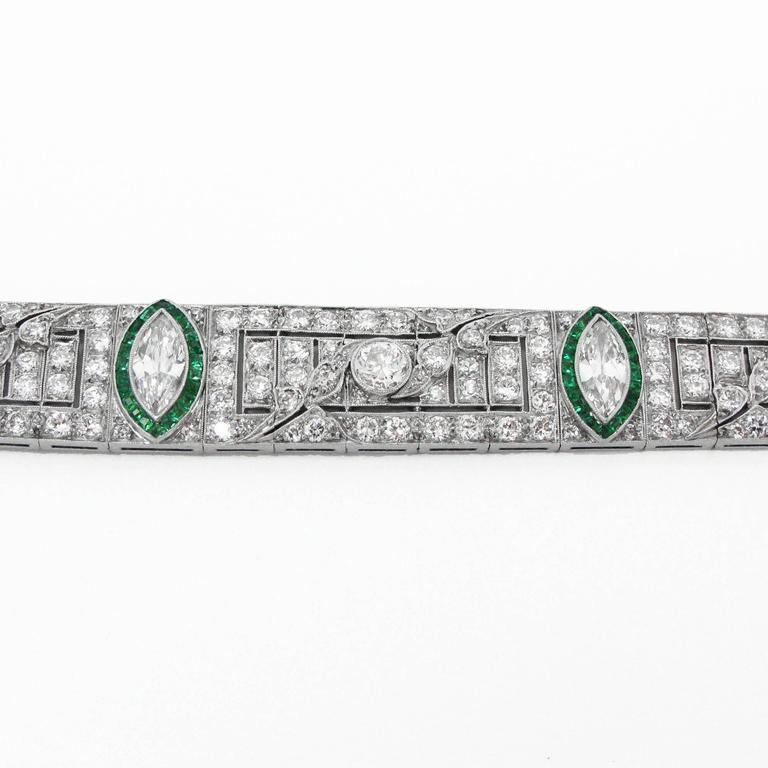 Women's Art Deco Platinum, Diamond and Emerald Bracelet For Sale