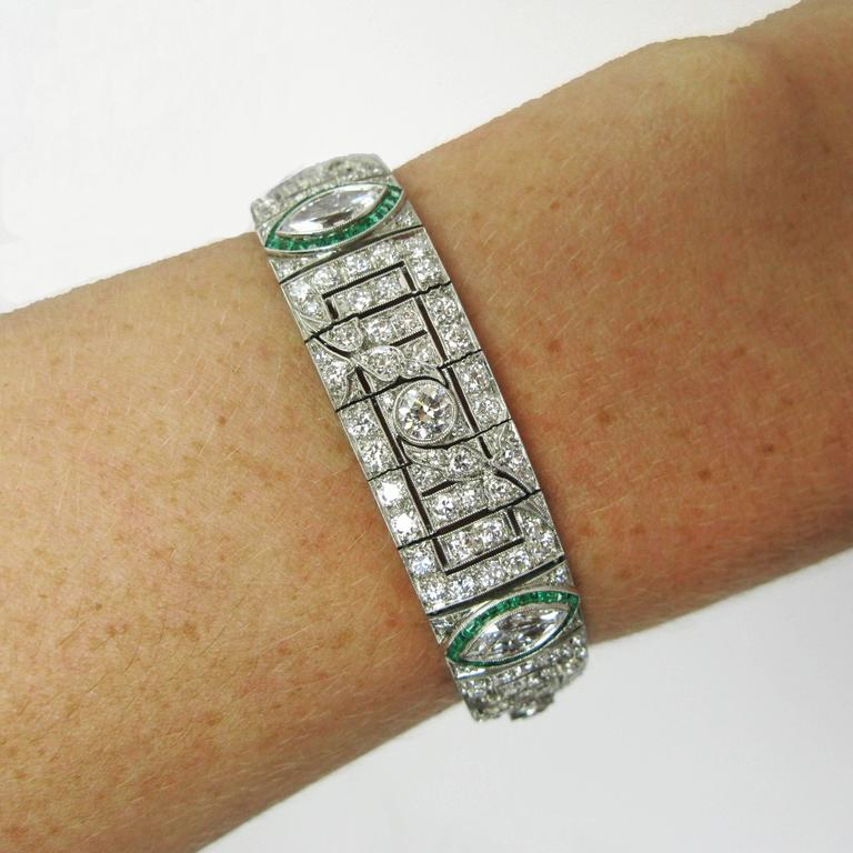 Art Deco Platinum, Diamond and Emerald Bracelet For Sale 2