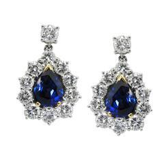 """Royal Blue"" Sapphire and Diamond Drop Earrings"