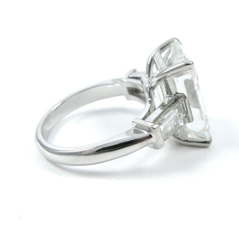 10.01 Carat Emerald Cut Diamond Platinum Classic Ring GIA For Sale 5