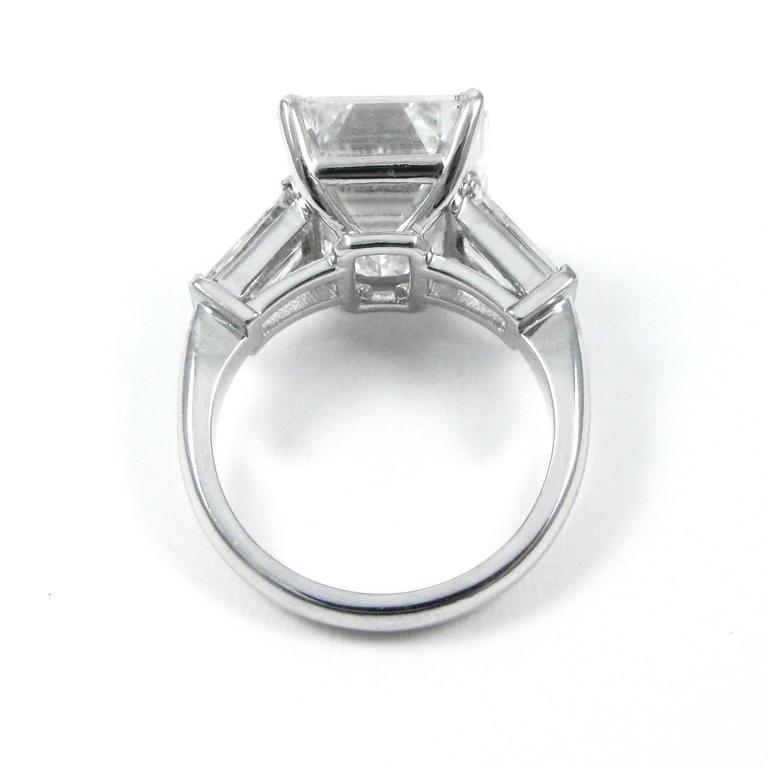 10.01 Carat Emerald Cut Diamond Platinum Classic Ring GIA For Sale 6