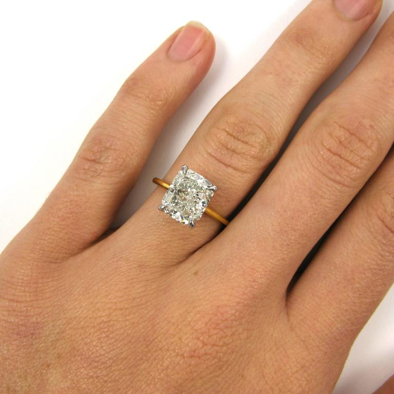 A Lovely Solitaire Ring Featuring 4 01 Carat Radiant Cut Diamond With K Color And