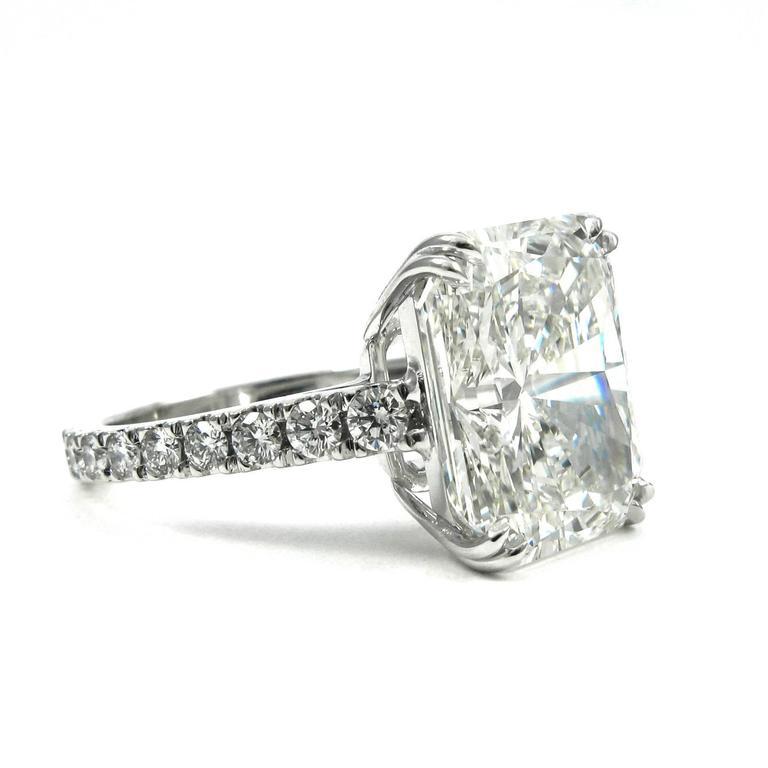 Stunning GIA Certified 9.28 Carat Radiant Cut Diamond Platinum Pave Ring 3