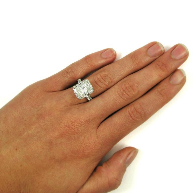 Stunning GIA Certified 9.28 Carat Radiant Cut Diamond Platinum Pave Ring 7
