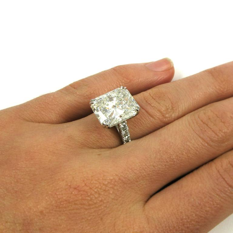 Stunning Gia Certified 10 04 Carat Radiant Diamond Platinum Pave J Birnbach Ring For Sale 4