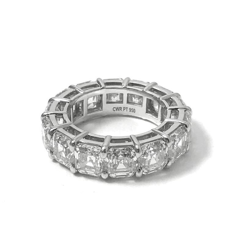1122 Carats Asscher Cut Diamonds GIA Platinum Eternity Band Wedding