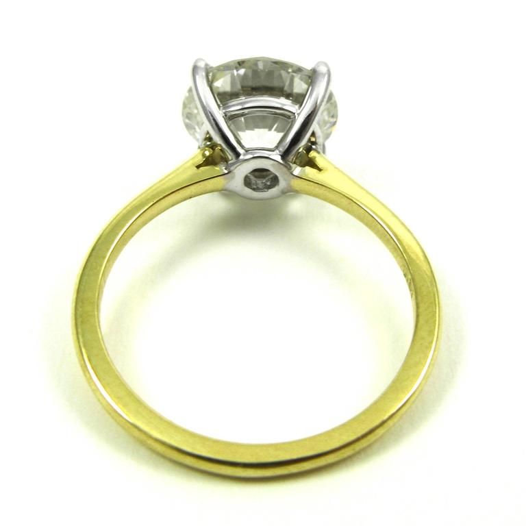 GIA Certified 3.18 Carat Diamond and Yellow Gold Solitaire Engagement Ring 5