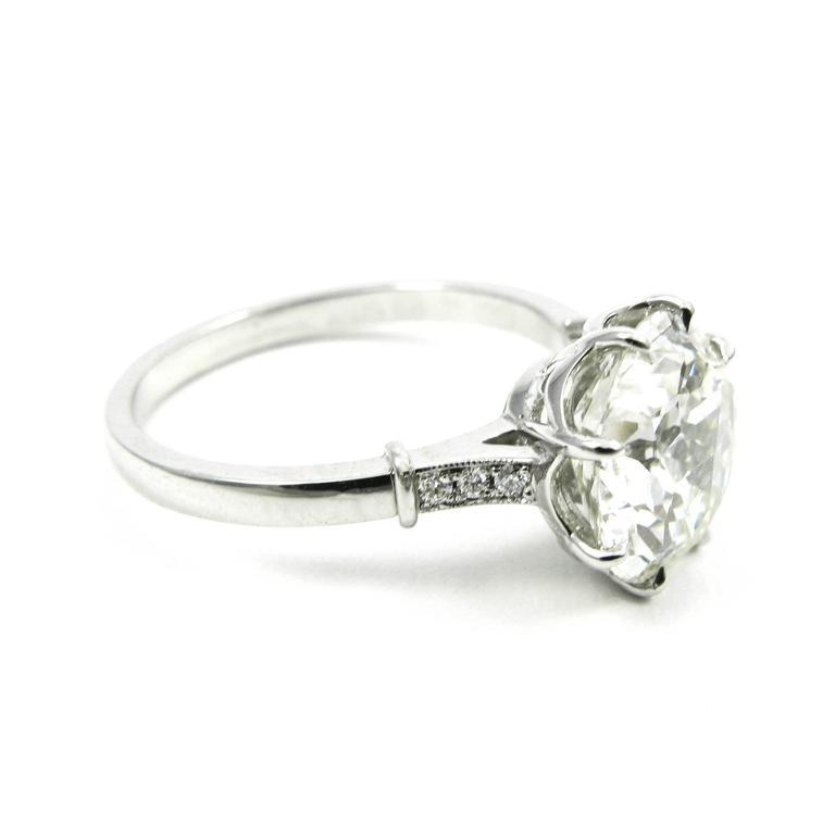 GIA Certified 3.04 Carat Jubilee Cut Diamond Platinum Engagement Ring 4