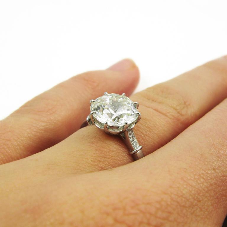 GIA Certified 3.04 Carat Jubilee Cut Diamond Platinum Engagement Ring 6