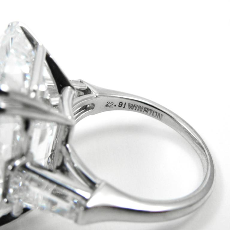Harry Winston Magnificent 22.91 Carat GIA Cert. D Color Emerald Cut Diamond Ring For Sale 2