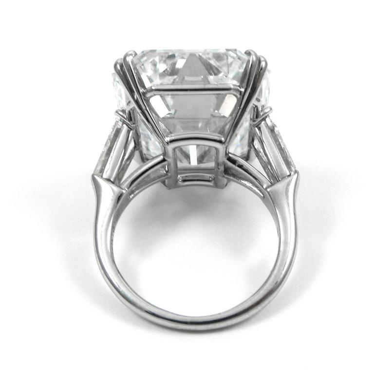 Harry Winston Magnificent 22.91 Carat GIA Cert. D Color Emerald Cut Diamond Ring For Sale 3