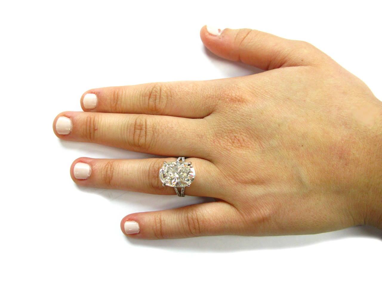 10 10 Carat Gia Cert Oval Diamond Platinum Ring For Sale