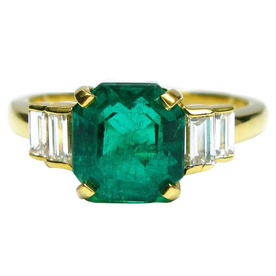 Kurt Wayne Emerald and Baguette Diamond Ring 1