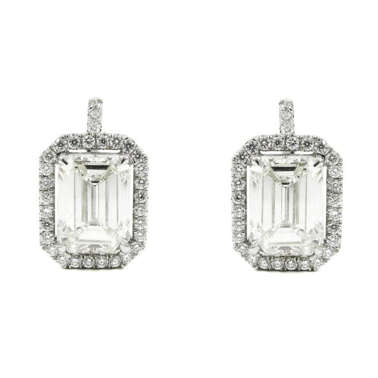 7.75 Carat Emerald Cut Diamond Pave Frame Drop Earrings EGL Certified