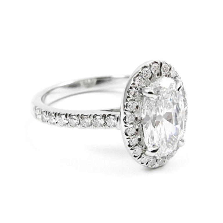 Gia Certified 1 75 Carat D Vs2 Oval Diamond Pave Halo Engagement Ring