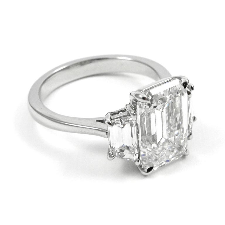 GIA Certified 5 21 Carat Total Emerald Cut Three Stone Diamond Platinum Ring