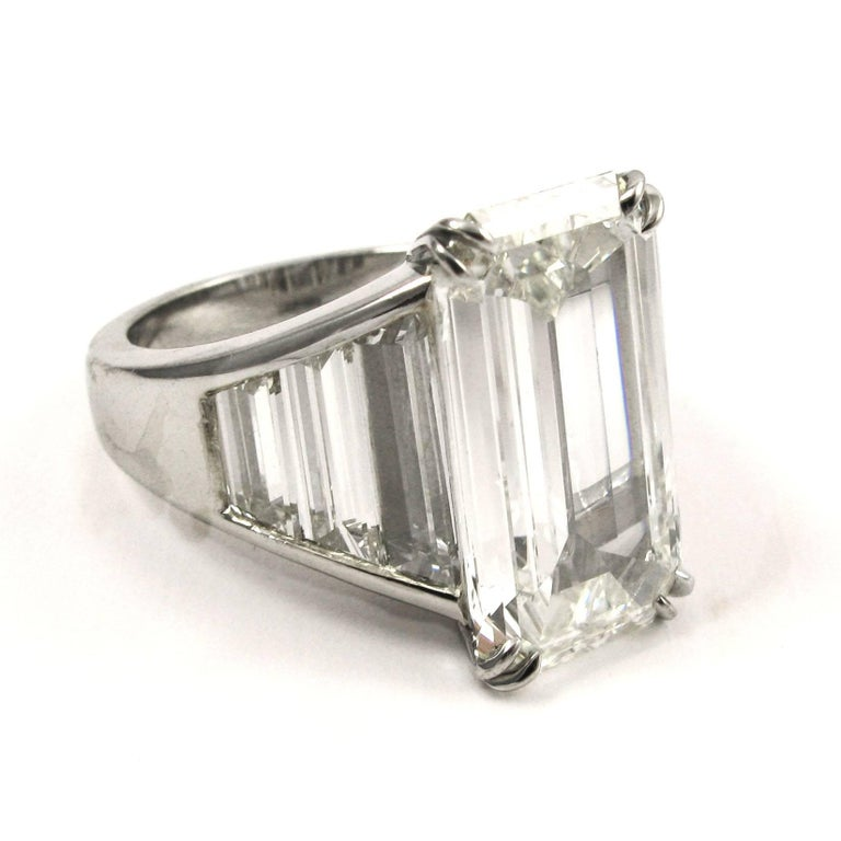certified 6 68 carat emerald cut and baguette