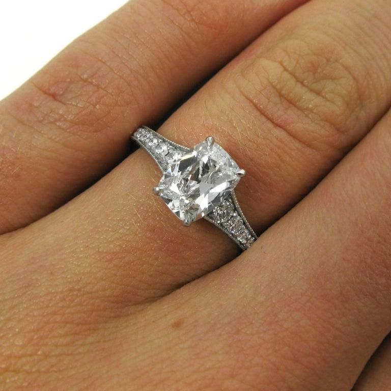 Gia Report D Color 1 09 Cushion Cut Diamond Platinum Engagement Ring