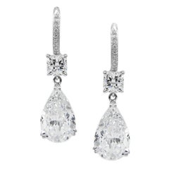 6.98 Carat Total GIA Certified D Color Pear Diamond Drop Earrings