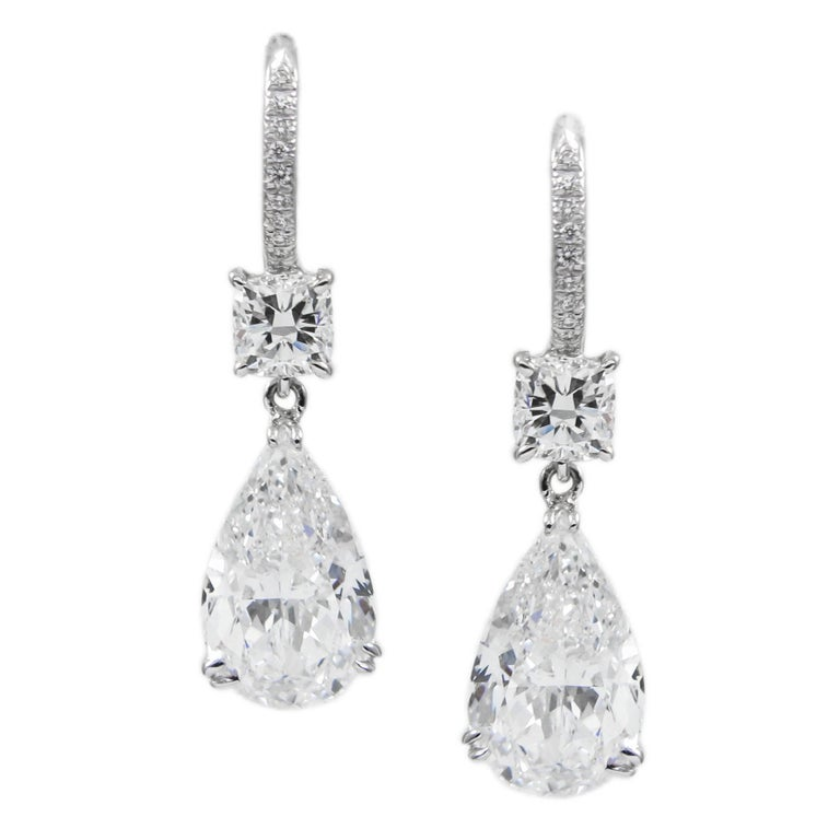 6.98 Carat Total GIA Certified D Color Pear Diamond Drop Earrings 1
