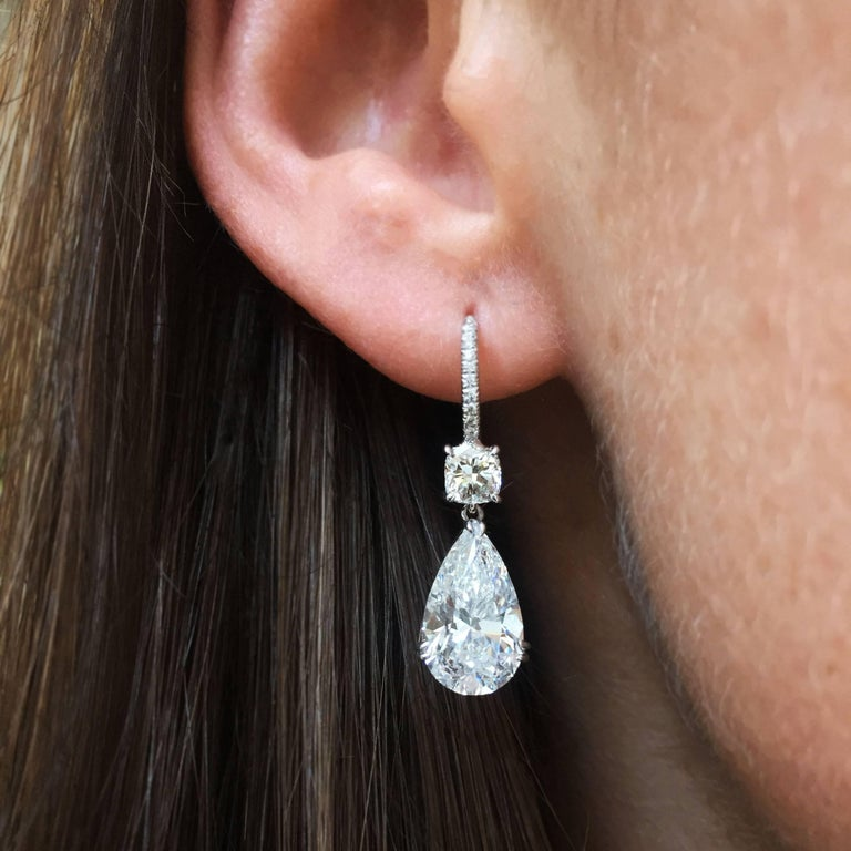 6.98 Carat Total GIA Certified D Color Pear Diamond Drop Earrings 5