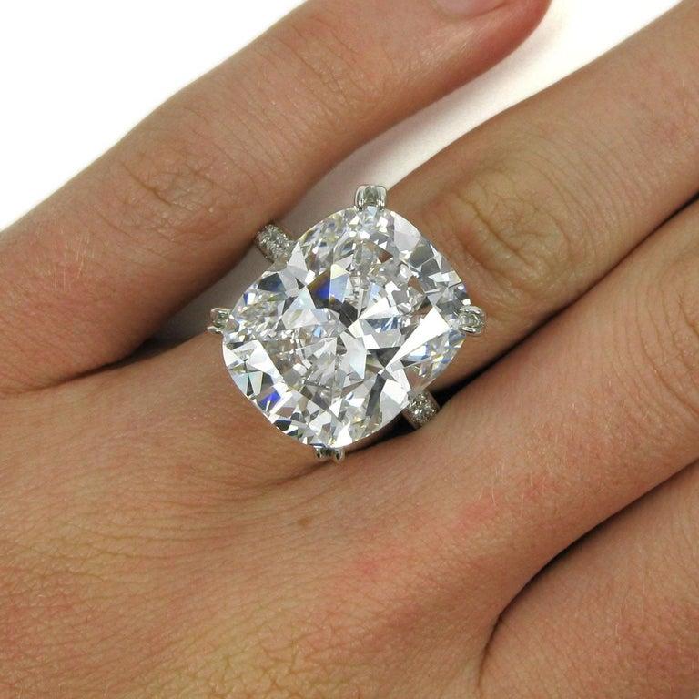 Tiffany & Co. GIA  17.06 Ct D Internally Flawless Type IIA Cushion Diamond Ring For Sale 4
