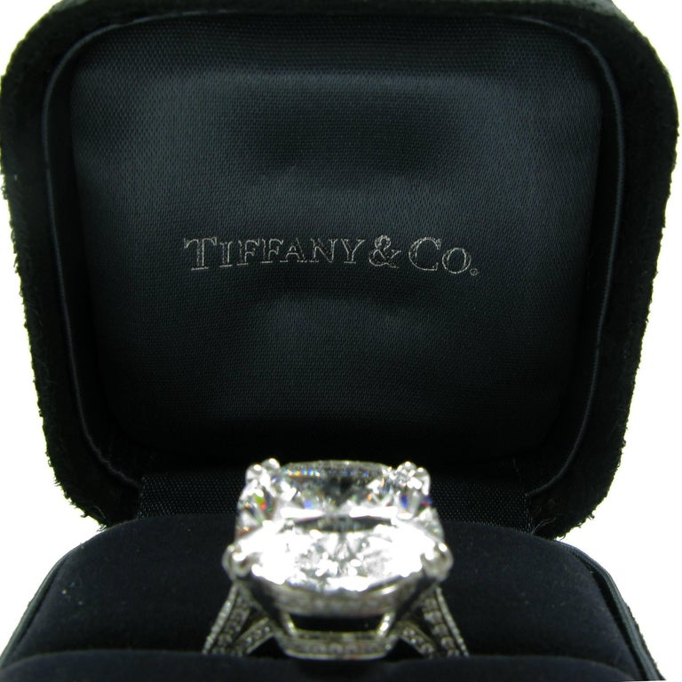 Tiffany & Co. GIA Certified 18.48Ct D IF Type IIA Cushion Diamond Platinum Ring 10
