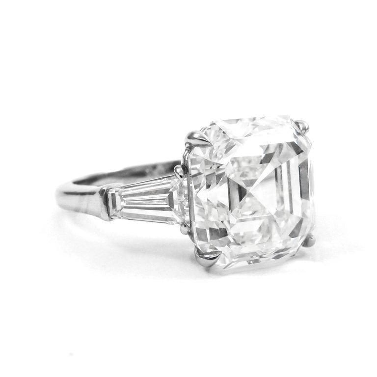 GIA Certified 7.00 Carat Asscher Cut Diamond Platinum Classic J. Birnbach Ring In Excellent Condition For Sale In New York, NY