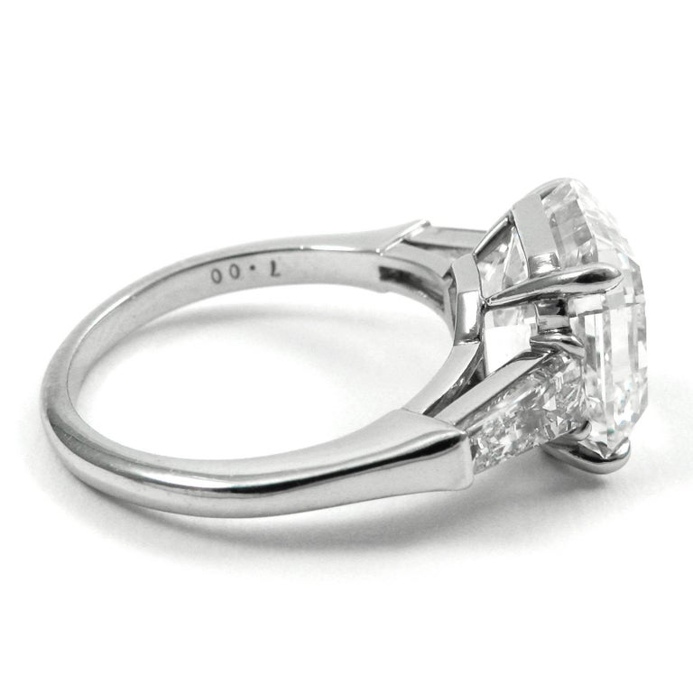 Women's or Men's GIA Certified 7.00 Carat Asscher Cut Diamond Platinum Classic J. Birnbach Ring For Sale