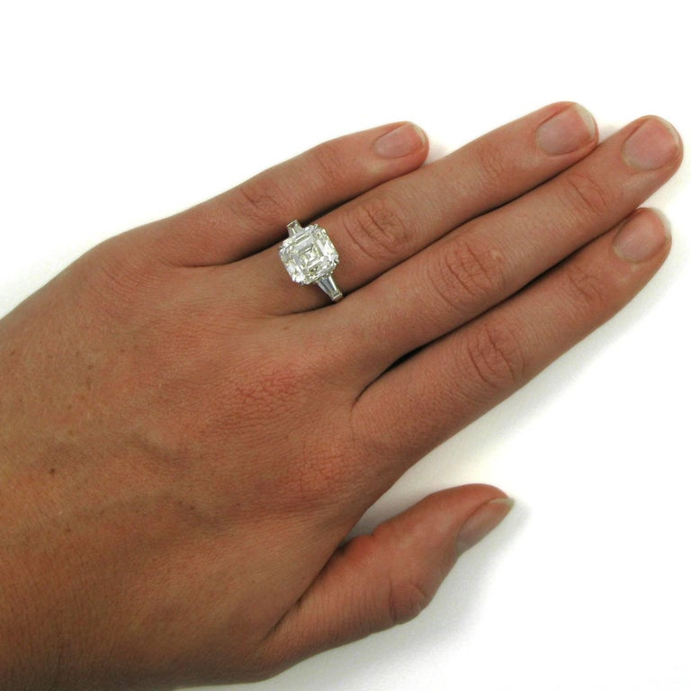 GIA Certified 7.00 Carat Asscher Cut Diamond Platinum Classic J. Birnbach Ring For Sale 2