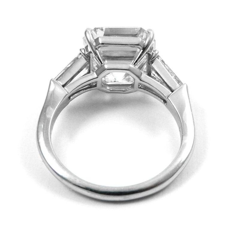 GIA Certified 7.00 Carat Asscher Cut Diamond Platinum Classic J. Birnbach Ring For Sale 1