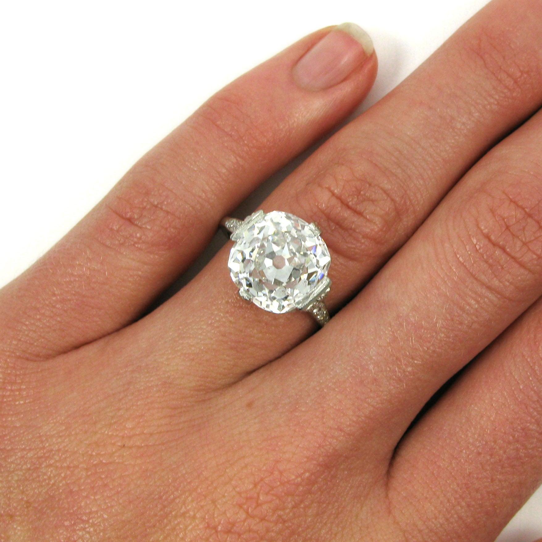 04cdecb6c8034 Antique Edwardian 8.16 Carat D SI1 Cushion Cut Diamond Platinum Ring GIA