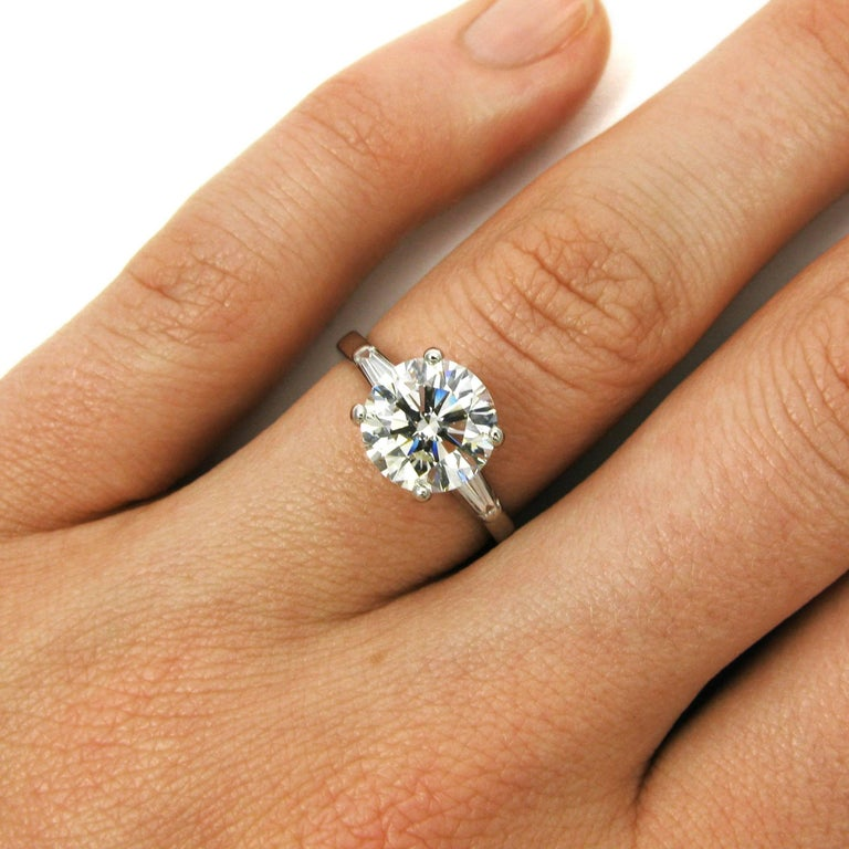 Vintage Tiffany And Co Classic 2 50 Carat Round Brilliant Cut Diamond Ring Gia At 1stdibs