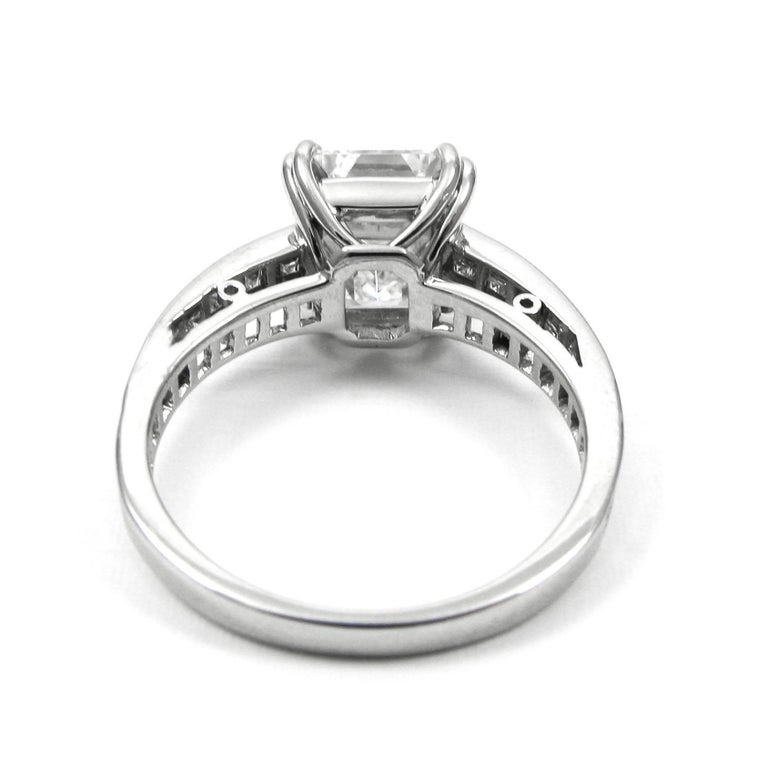 J. Birnbach GIA Certified 3.02 Carat Emerald Cut Diamond Ring For Sale 1