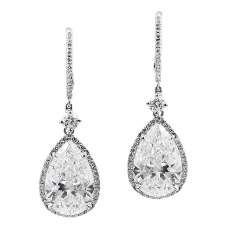 GIA Certified 13.37 Carat Total Pear Shape Halo Diamond Drop J. Birnbach Earring