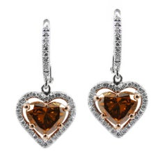 Fancy Colored Diamond Heart Shape Drop Halo Earrings White Gold