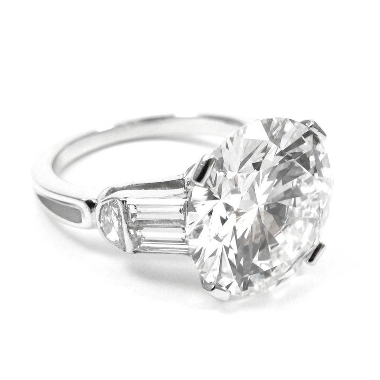 Round Cut GIA Certified 7.10 Carat Triple X HVS1 Round Brilliant Cut Diamond Platinum Ring For Sale