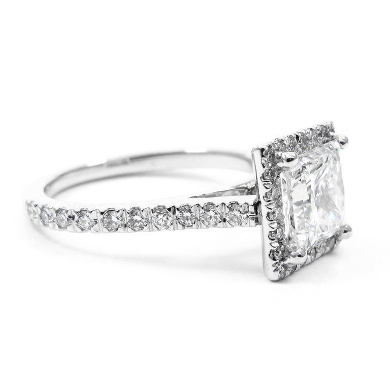 GIA Certified 1.50 Carat Princess Cut Diamond Platinum Halo Frame Pave Ring In Excellent Condition For Sale In New York, NY