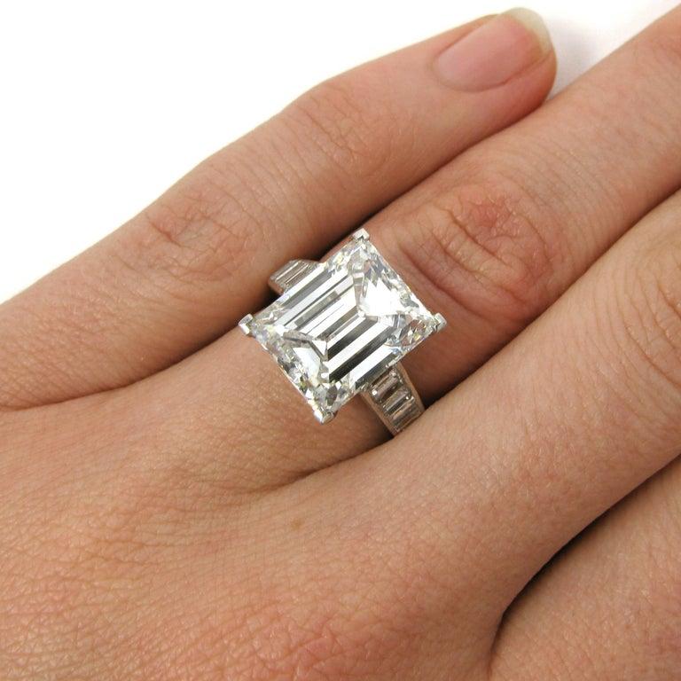 This Harry Winston classic is a ring you can't go wrong with. It has a GIA certified 7.45 F VS1 Emerald Cut center stone with baguettes down the shank. A true original crafted by one of the finest.