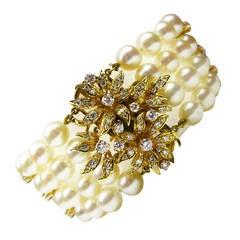 Kurt Wayne Pearl & Diamond Gold Flower Bracelet