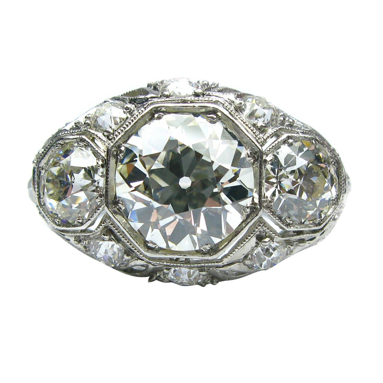 Stones Platinum: Art Deco Diamond Platinum Three Stone Ring For Sale At 1stdibs