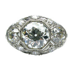 Art Deco Diamond Platinum Three Stone Ring