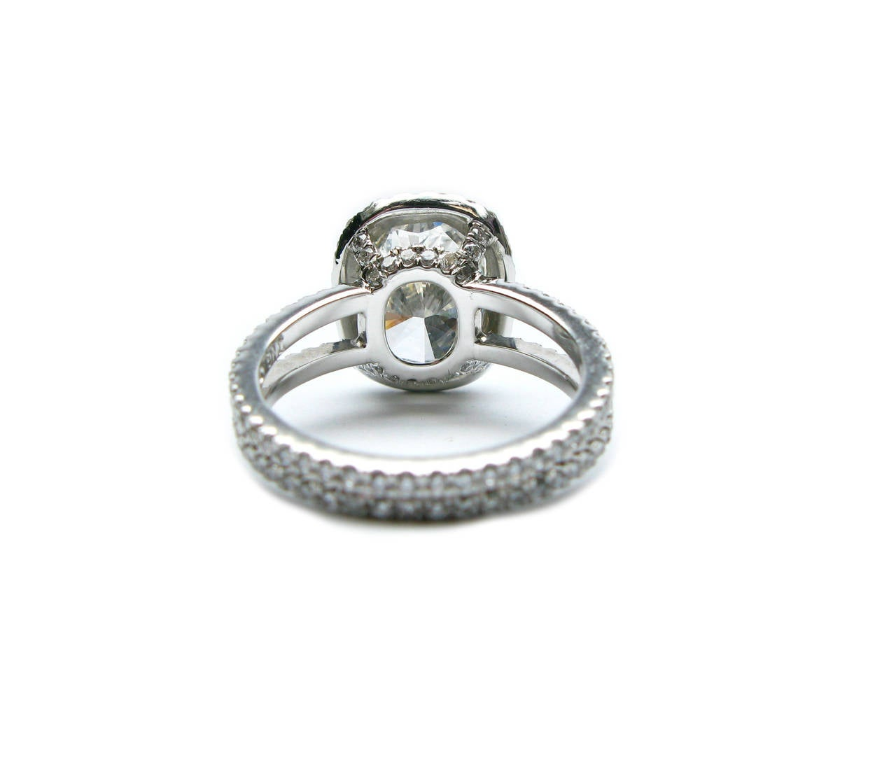 4 01 Carat GIA Cert Cushion Cut Diamond Platinum Halo Ring at 1stdibs