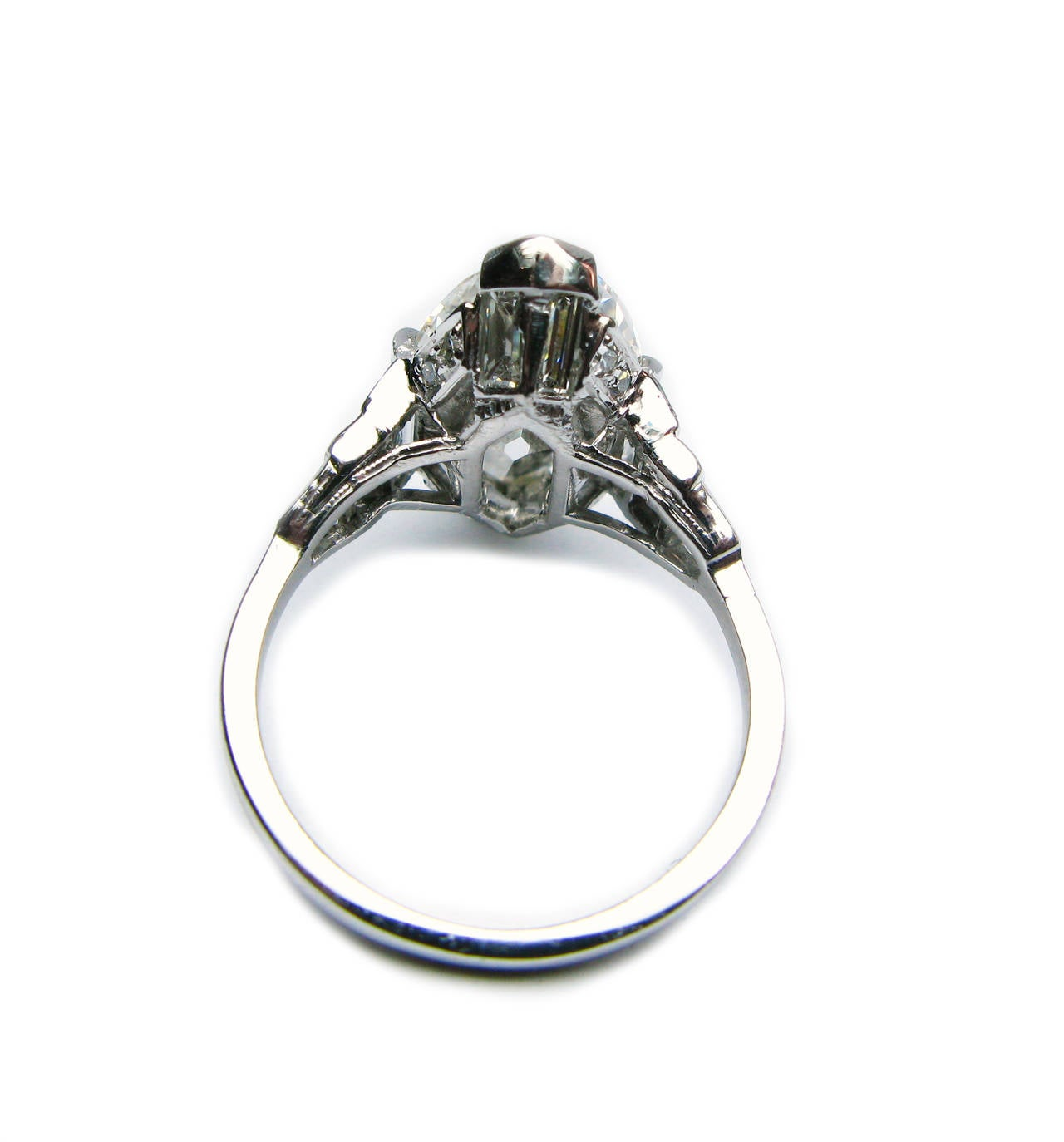 Art Deco GIA Cert Oval Diamond Platinum Ring For Sale 1