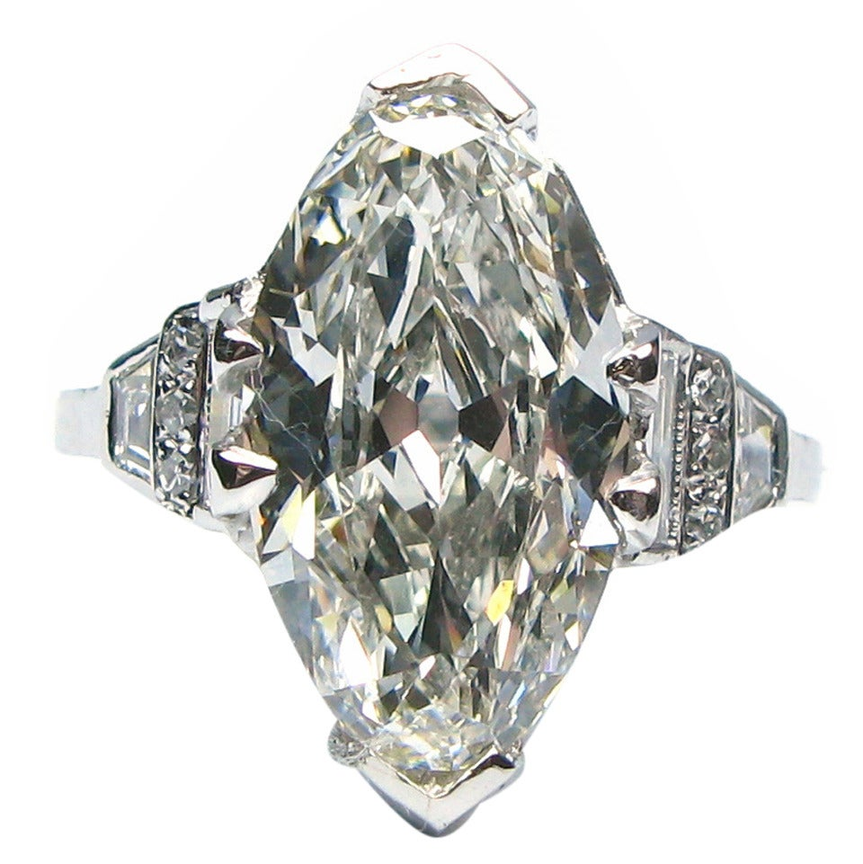 Art Deco GIA Cert Oval Diamond Platinum Ring For Sale