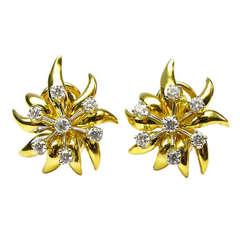 Tiffany Diamond Flower Earrings