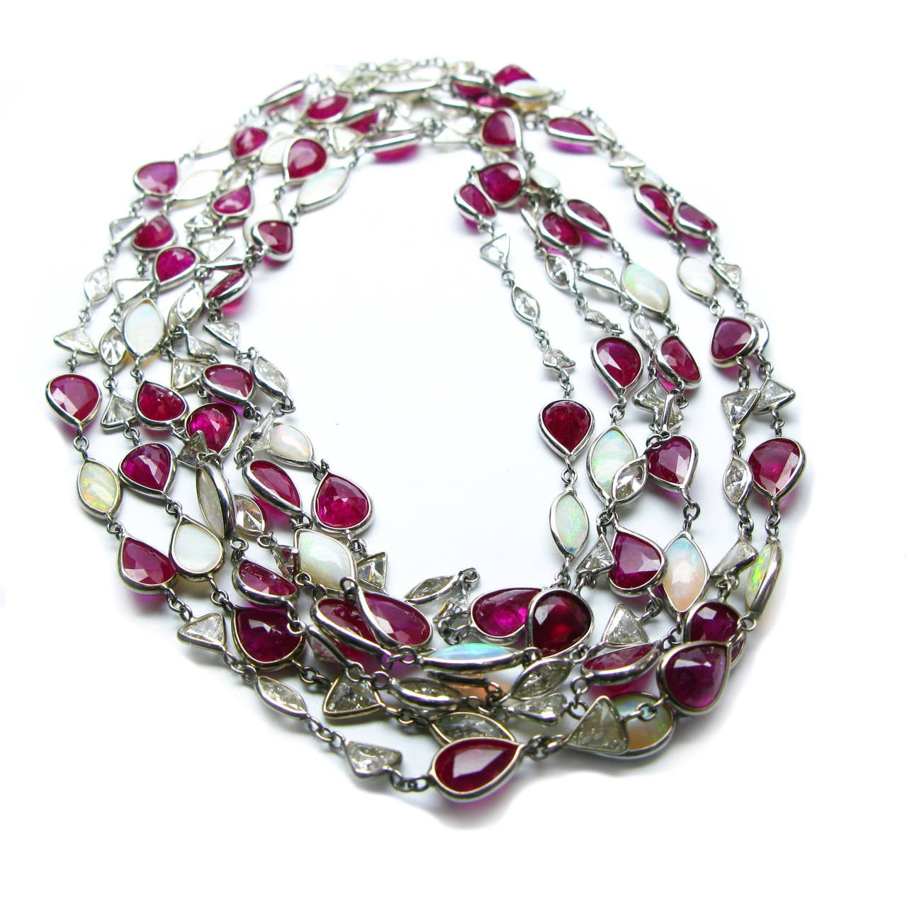 Ruby Opal Diamond Platinum Bezel Necklace In Excellent Condition For Sale In New York, NY