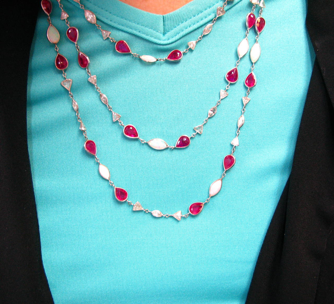Ruby Opal Diamond Platinum Bezel Necklace 5