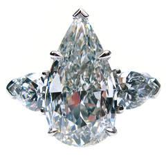 5.01 Carat GIA F VS1 Pear Shaped Diamond Platinum Ring