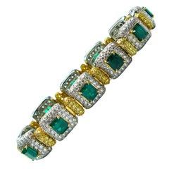 J. Birnbach Diamond & Emerald Fine Link Bracelet